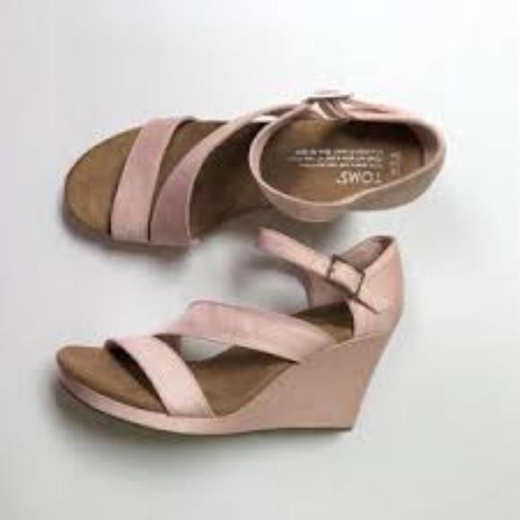 a1182b25951 TOM's Petal Pink Grosgrain Women's Clarissa Wedges